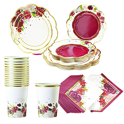 Burgundy Blush Floral 72 Pieces Party Tableware Set (16 Guests)