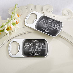 Personalized Silver Bottle Opener with Epoxy Dome - Eat, Drink & Be Married