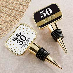Personalized Gold Bottle Stopper with Epoxy Dome - Milestone Birthday