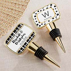 Personalized Gold Bottle Stopper with Epoxy Dome - Modern Classic