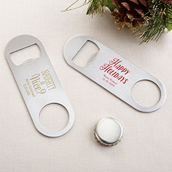 Personalized Silver Oblong Bottle Opener - Holiday
