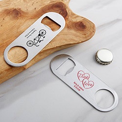 Personalized Silver Oblong Bottle Opener - Wedding