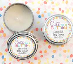 """Cute as a Button"" Personalized Travel Candle (Set of 12)"