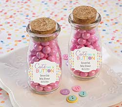"""Cute as a Button"" Personalized Milk Jar (Set of 12)"