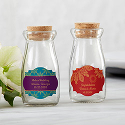 Personalized Vintage Milk Bottle Favor Jar - Indian Jewel (Set of 12)
