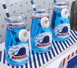 Personalized Vintage Milk Bottle Favor Jar - Nautical Birthday (Set of 12)