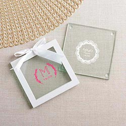 Personalized Glass Coasters - Rustic Charm Wedding (Set of 12)