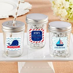 Personalized Glass Mason Jar - Kates Nautical Birthday Collection (Set of 12)