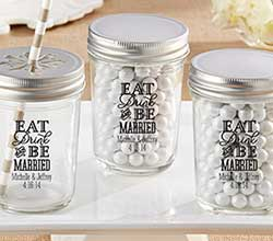 Personalized Printed Mason Jar - Eat, Drink & Be Married (Set of 12)