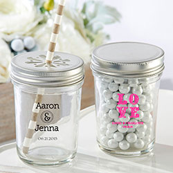 Personalized Printed Glass Mason Jar - Wedding (Set of 12)