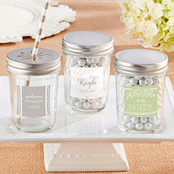 Personalized 8 oz. Glass Mason Jar - Kates Rustic Baby Shower Collection (Set of 12)