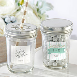 Personalized Glass Mason Jar - Kates Rustic Wedding Collection (Set of 12)