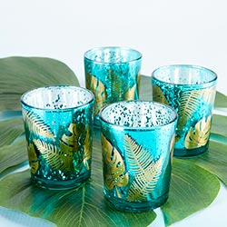 Palm Leaf Glass Votive with Gold Foil(Set of 4)
