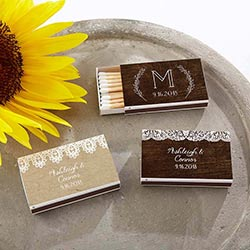 Personalized White Matchboxes - Rustic Charm Wedding (Set of 50)