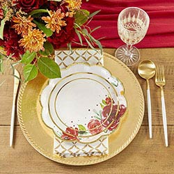 Burgundy Blush 9 in. Premium Paper Plates (Set of 16)