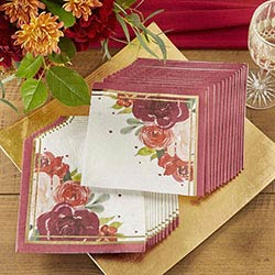 Burgundy Blush Paper Napkins (Set of 30)