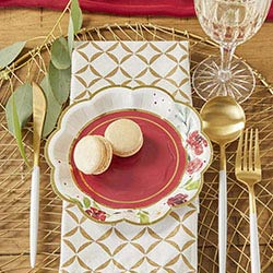 Burgundy Blush 7 in. Premium Paper Plates (Set of 16)