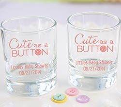 "Personalized ""Cute as a Button"" Printed Shot Glass/Votive Holder"