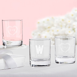 Personalized 2 oz. Shot Glass/Votive Holder - Rustic Wedding