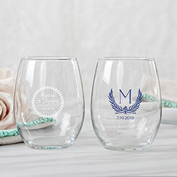 Personalized 9 oz. Stemless Wine Glass - Botanical Garden
