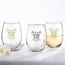 Personalized 9 oz. Stemless Wine Glass –The Hunt Is Over