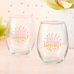 Birthday For Her 15 oz. Stemless Wine Glass (Set of 4)