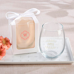 Personalized 15 oz. Stemless Wine Glass - Modern Romance