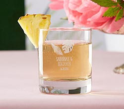 Personalized 9 oz. Rocks Glasses - Pineapples and Palms
