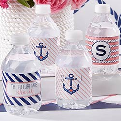 Personalized Water Bottle Labels - Kates Nautical Bridal Collection