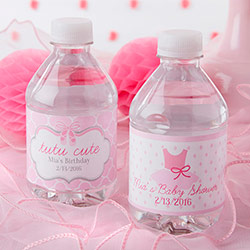 Personalized Water Bottle Labels- Tutu Cute