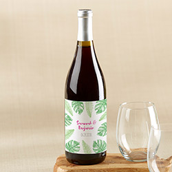 Personalized Wine Bottle Labels - Pineapples and Palms