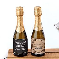 Personalized Mini Wine Bottle Labels - Boozie Birthday