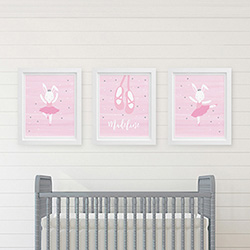 Personalized Ballerina Nursery Décor Wall Art (Set of 3 Prints)