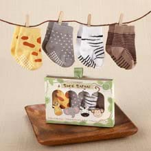 """Sock Safari"" Four-Pair Animal-Themed Sock Set"