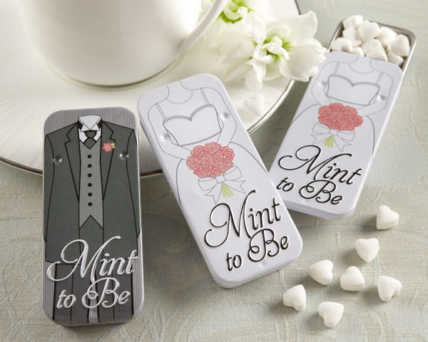 Practical wedding favors useful favors youre guest will love mint to be bride and groom slide mint tins with heart mints junglespirit Gallery